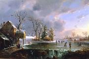 Regis-Francois Gignoux Skating by the Mill oil painting picture wholesale