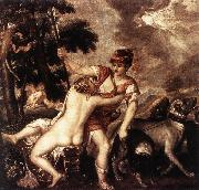 TIZIANO Vecellio Venus and Adonis  R oil painting picture wholesale