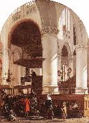 WITTE, Emanuel de Interior of the Oude Kerk at Delft during a Sermon oil painting artist