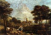 ZAIS, Giuseppe Landscape with Shepherds and Fishermen oil painting picture wholesale