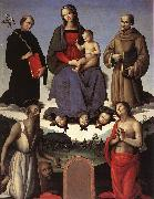 PERUGINO, Pietro Madonna and Child with Four Saints (Tezi Altarpiece) af oil painting picture wholesale