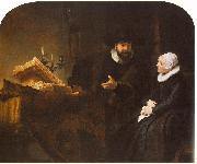 REMBRANDT Harmenszoon van Rijn The Mennonite Minister Cornelis Claesz. Anslo in Conversation with his Wife, Aaltje D oil painting artist