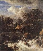 RUISDAEL, Jacob Isaackszon van Waterfall by a Church af oil painting picture wholesale