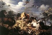 SAVERY, Roelandt Horses and Oxen Attacked by Wolves ar oil painting artist