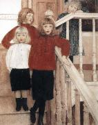Fernand Khnopff Portrait of the Children of Louis Neve oil painting artist