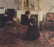 Fernand Khnopff Listingto Music by Schumann oil painting artist