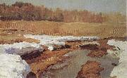 Isaac Levitan Spring,The Last Snow oil painting artist