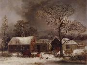George Henry Durrie Winter Scene in New Haven,Connecticut oil painting artist