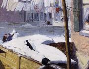 John sloan Backyards,Greenwich Village oil painting artist