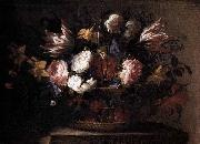 Arellano, Juan de Still-Life with a Basket of Flowers oil painting artist