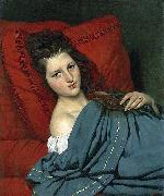 COURTOIS, Jacques Half-length Woman Lying on a Couch oil painting artist