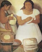 Diego Rivera Make the tortilla oil painting artist