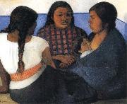 Diego Rivera The Three women and Child oil painting artist