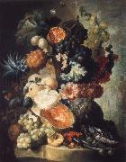 Jan van Os Fruit,Flwers and a Fish oil painting artist