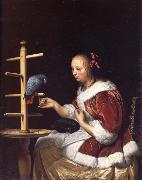 MIERIS, Frans van, the Elder A Woman in a Red Jacket Feeding a Parrot oil painting artist