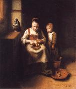 Nicolas Maes A Woman Scraping Parsnips,with a Child Standing by Her oil painting artist