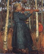 Paula Modersohn-Becker Trumpeting Gril in a Birch Wood oil painting artist