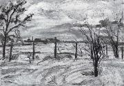 Waldemar Rosler Landscape in lights fields in the winter oil painting artist