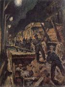 Waldemar Rosler U-train-building in night oil painting artist