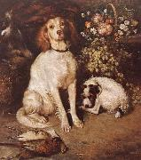 William Strutt Dogs with Flowers and game oil painting artist
