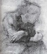 kathe kollwitz Sitting woman with crossed arms oil painting artist