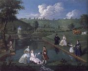 Edward Haytley The Brockman Family and Friends at Beachborough Manor the Temple Pond looking towards the Rotunda oil painting artist