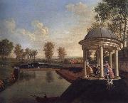 Edward Haytley The Brockman Family and Friends at Beachborough Manor The Temple Pond looking from the Rotunda oil painting artist