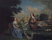 Edward Haytley Sir Roger and Lady Bradshaigh of Haigh Hall,Landscaskire oil painting artist