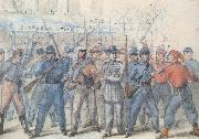 Frank Vizetelly Union Soldiers Attacking Confederate Prisoners in the Streets of Washington oil painting artist