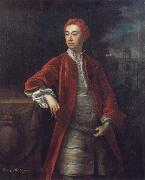 Jonathan Richardson Richard Boyle 3rd Earl of Burlington,with the Bagnio at Chiswick House,Middlesex oil painting artist