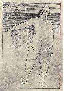 Joseph E.Southall Fisherman and basket Southwold oil painting artist
