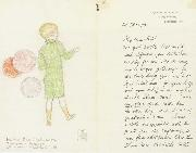 Joseph E.Southall Balloons to sell Illustrated letter to Arthur Gaskin oil painting artist