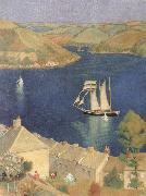 Joseph E.Southall The Three-Masted Schooner oil painting artist