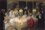 Jules-Alexandre Grun The end of the supper oil painting artist