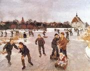 Ole Peter Hansen Balling Pa ice out the village. Faborg oil painting artist