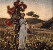 Richard Bergh Knight and The virgin oil painting artist