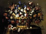 Arellano, Juan de Basket of Flowers c oil painting artist
