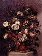 CORTE, Gabriel de la. Still-Life of Flowers in a Woven Basket oil painting artist