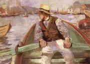 Christian Krohg Look ahead,the harbour at Bergen oil painting artist