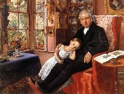 Sir John Everett Millais James Wyatt and His Granddaughter oil painting artist