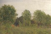 George Price Boyce.RWS Black Poplars at Pangbourne (mk46) oil painting artist