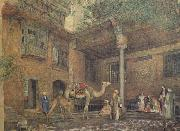 John Frederichk Lewis RA Courtyard of the Painter's House (mk46) oil painting artist
