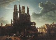 Karl friedrich schinkel Gothic Cathedral by the Waterside (mk45) oil painting picture wholesale