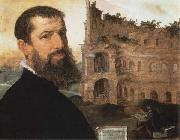 Maerten van heemskerck Self-Portrait of the Painter with the Colosseum in the Background oil painting artist