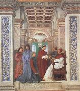 Melozzo da Forli Pope Sixtus IV appoints Platina as Prefect of the Vatican Library (mk45) oil painting artist