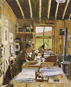 Sir William Orpen Major A.N.Lee in his hut ofice at Beaumerie-sur-Mer oil painting picture wholesale