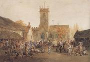 William Henry Pyne The Pig Market,Bedford with a View of St Mary's Church (mk47) oil painting picture wholesale