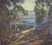 William Wendt Eucalyptus Trees and Bay oil painting artist