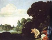 Carlo Saraceni landscape with salmacis and hermaphroditus oil painting artist