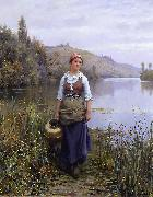 Daniel Ridgeway Knight By the Riverside oil painting artist